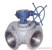 Q346F蝸輪四通球閥 渦輪法蘭球閥 不銹鋼四通球閥